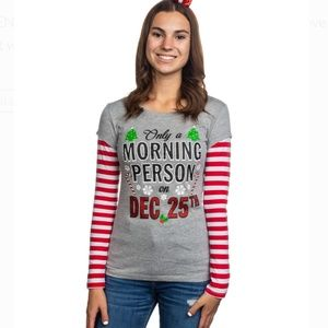 Only A Morning Person on Dec 25th Tee Jrs XS NWT